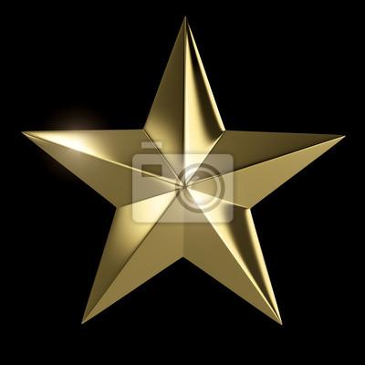 Fototapeta Zlatá hvězda izolované s ořezovou cestou na černém pozadí