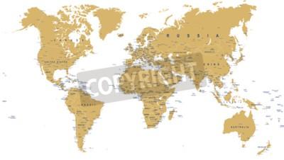 Fototapeta Zlatá mapa světa - hranice, země, města a globe - ilustrace