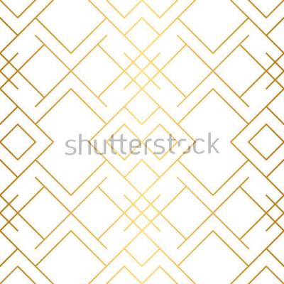 Fototapeta Zlatá textura. Bezproblémový geometrický vzor. Zlaté pozadí. Levné bezešvé vzor. Geometrické pozadí s kosočtvercem a uzly. Abstraktní geometrický vzor.