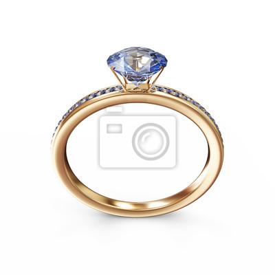 Zlaty Snubni Prsten S Modrymi Diamanty Fototapeta Fototapety