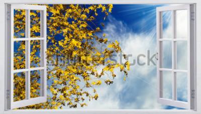 Fototapeta Žlutá podzimní listí na obloze