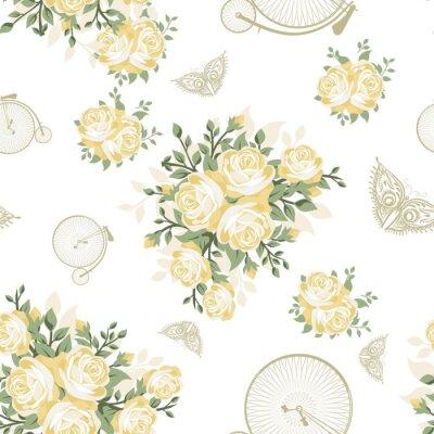 Fototapeta Žluté květiny, motýli a Jízdní kola bezešvé vzor