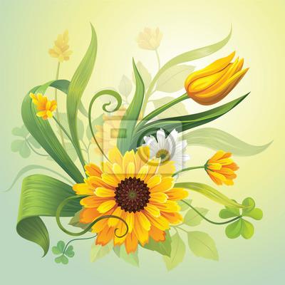 Fototapeta žluté květy a listy botanických přírodě ilustrační