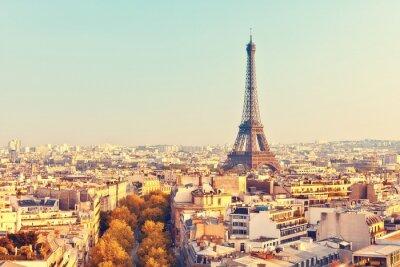 Fototapeta Zobrazit na Eiffelovy věže při západu slunce