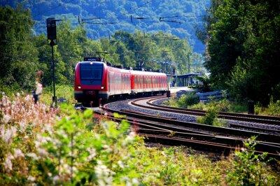 Fototapeta Zug verlässt doupěte Bahnhof, Abfahrt