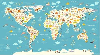 Fototapeta Zvířata mapa světa. Krásná veselá barevné vektorové ilustrace pro děti a děti. S nápisem oceánů a kontinentů. Školka, dítě, světadíly, oceány, tažené, Země