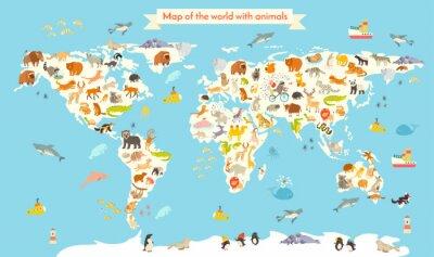 Fototapeta Zvířata mapa světa. Pestré kreslený vektorové ilustrace pro děti a děti. Školka, vzdělávání, dítě, světadíly, oceány, tažené, Země