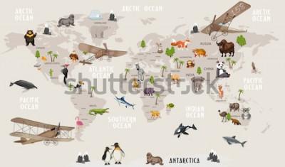 Fototapeta Zvířata mapa světa pro děti tapety design