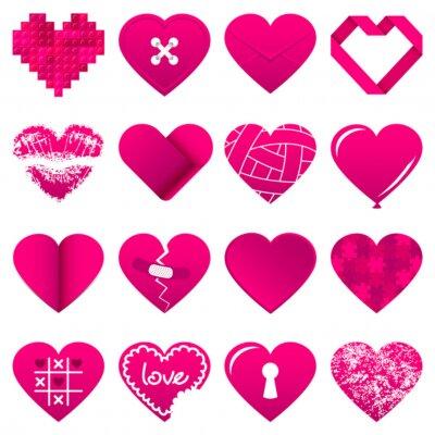 Nálepka 16 Abstraktní Pink Hearts