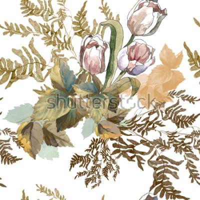 Nálepka 3 bílé tulipány a trávy akvarel na bílém pozadí bezešvé vzor pro tkaniny, papír