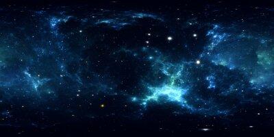 Nálepka 360 ° vesmírná panoráma mlhoviny, přímočará projekce, mapa prostředí. Sférické panorama HDRI. Místo na pozadí s mlhovinou a hvězdami