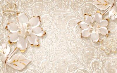 Nálepka 3d illustration, beige ornamental background, large white abstract gilded flowers