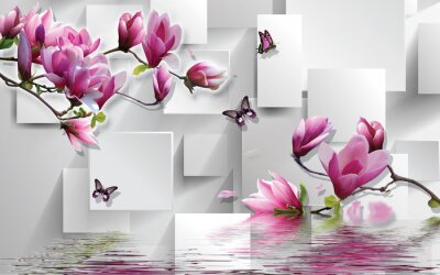 Nálepka 3d illustration, light background, rectangles, butterflies, magnolia