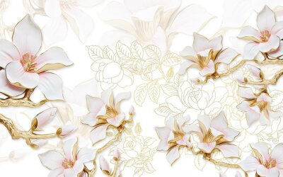 Nálepka 3d illustration, light background with the contours of peonies, large gilded pink magnolia flowers