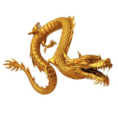Nálepka 3d render zlatého draka
