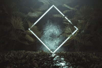 Nálepka 3d rendering of blue lighten square shape with light beam surrounded by palm leaves