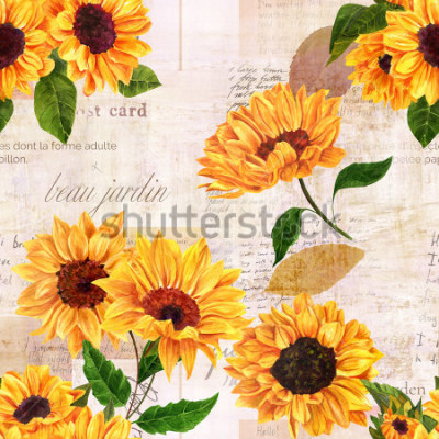 Nálepka A seamless pattern with hand drawn vibrant yellow watercolor sunflowers on the background of old letters, postcards, and newspaper scraps mockups, vintage style floral repeat print