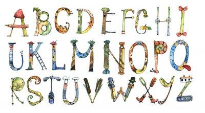 Nálepka abeceda, písmeno, akvarel