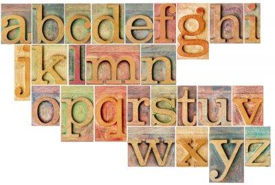 Nálepka abeceda v knihtisk dřeva