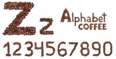 Nálepka abeceda z kávových zrn izolovaných