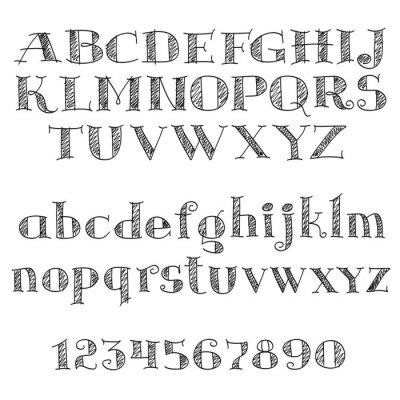 Nálepka Abecedy písmo s šrafováním