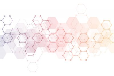 Nálepka Abstract background of science and innovation technology. Technical background with hexagons pattern and molecular structures.