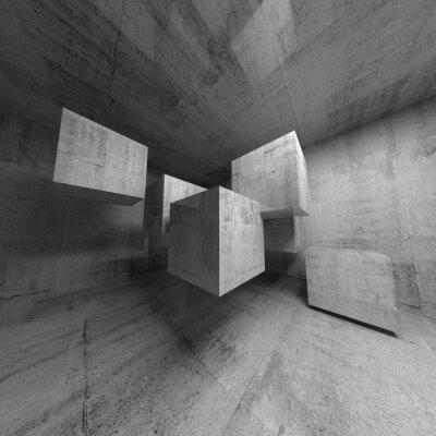 23846427f4 Abstract beton 3d interiér s létajícími kostkami nálepky na notebook ...