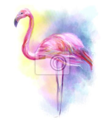 Nálepka Abstract flamingo pink illustration