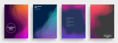 Nálepka Abstract geometric pattern background for brochure cover design. Blue, yellow, red, orange, pink and green vector banner template