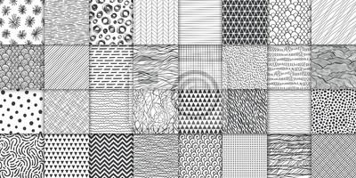 Nálepka Abstract hand drawn geometric simple minimalistic seamless patterns set. Polka dot, stripes, waves, random symbols textures. Vector illustration