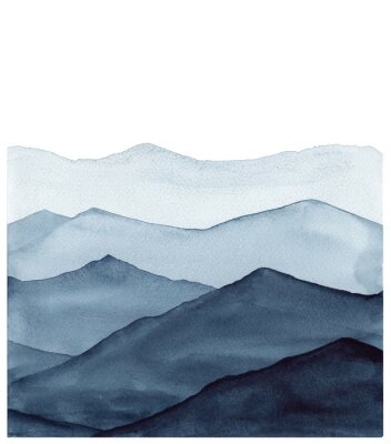 Nálepka abstract indigo blue watercolor waves mountains on white background