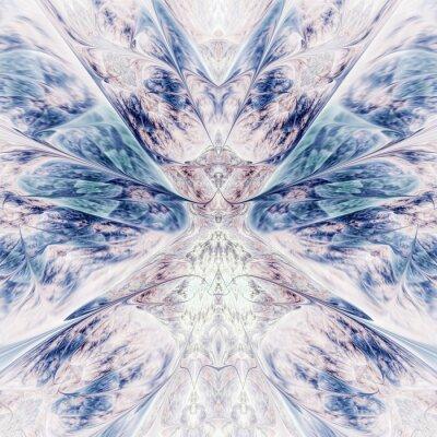 Nálepka Abstract intricate symmetrical rose and blue ornament. Fantastic fractal design. Psychedelic digital art. 3d rendering.