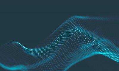 Nálepka  Abstract Music background. Big Data Particle Flow Visualisation. Science infographic futuristic illustration. Sound wave. Sound visualization