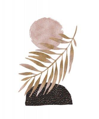 Nálepka Abstract poster design: minimal shapes, glossy golden tropical leaf.