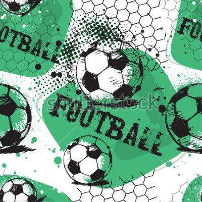 Nálepka Abstract seamless pattern for boys. Football pattern. Grunge urban pattern with football ball. Sport wallpaper on white background with black and green. Repeated sport pattern.