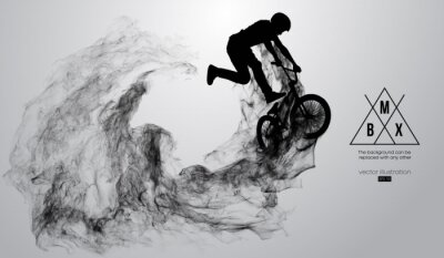 Nálepka Abstract silhouette of a bmx rider on the white background from particles, dust, smoke, steam. Bmx rider jumps and performs the trick. Background can be changed to any other. Vector illustration
