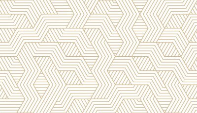Nálepka Abstract simple geometric vector seamless pattern with gold line texture on white background. Light modern simple wallpaper, bright tile backdrop, monochrome graphic element
