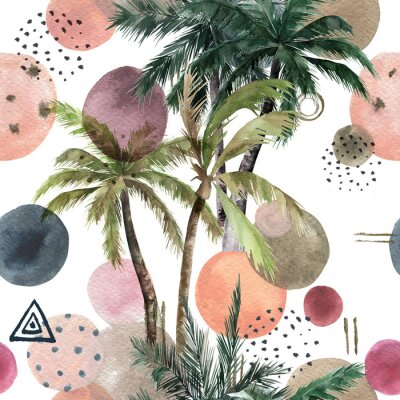 Nálepka Abstract tropical pattern with palm trees. Watercolor seamless print. Geometric summer background