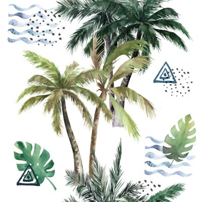 Nálepka Abstract tropical pattern with  palm trees. Watercolor seamless print. Jungle summer  background