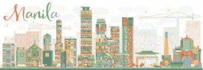 Nálepka Abstrakt Manila Skyline s barevnými budov.