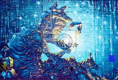 Nálepka Abstrakt nástěnná malba Graffiti detail na texturami zeď
