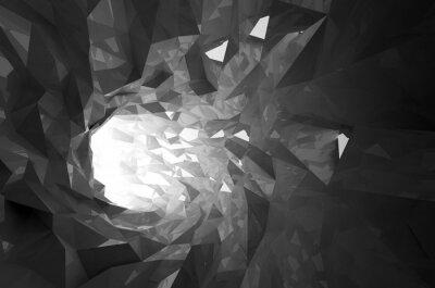 Nálepka Abstrakt zářící černé crystal 3d digitální tunel