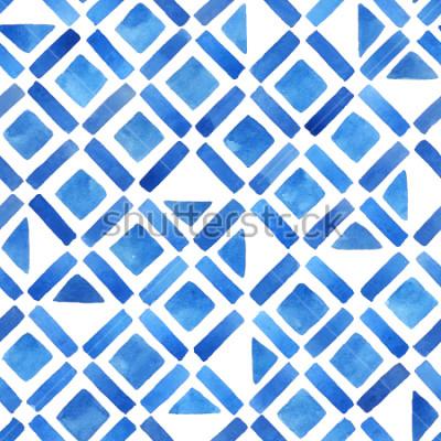 Nálepka Abstraktní akvarelové geometrické dlaždice. Bezešvé vzorek v modrém