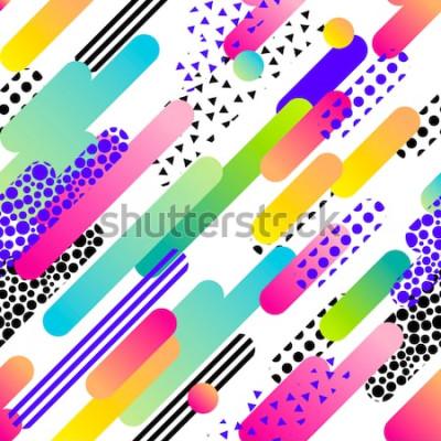 Nálepka Abstraktní bezešvá vektorová vzor pro dívky, chlapci, oblečení. Kreativní pozadí s tečkami, geometrické obrázky Legrační tapety pro textil a textilie. Modní styl. Barevné světlé