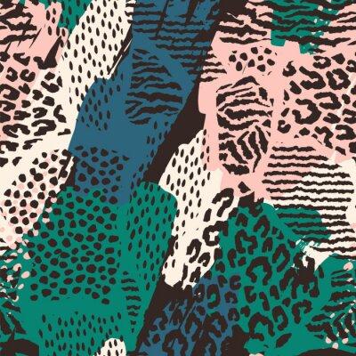 Nálepka Abstraktní bezešvé vzorek se zvířaty.