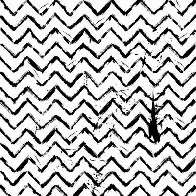 Nálepka abstraktní bezešvé Zig Zag vzor černé a bílé