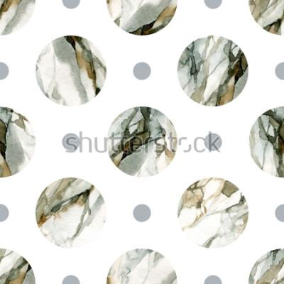 Nálepka Abstraktní geometrické pozadí. Vodní barva mramorové malby. Akvarel kruh bezešvé vzor. Kruhy s vodou mramorování, zrnitý, papír textury. Ručně malované ilustrace