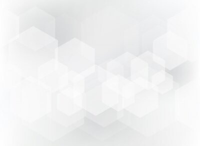 Nálepka Abstraktní geometrický šestiúhelníkový překryvový vzor na bílém a šedém pozadí.