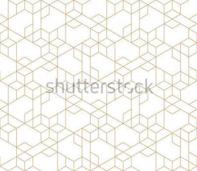 Nálepka Abstraktní geometrický vzor s křížením tenkých zlatých čar na bílém pozadí. Bez ohledu na lineární vztah. Stylová fraktální struktura. Vektorový vzor pro vyplnění pozadí, laserové gravírování a řezání