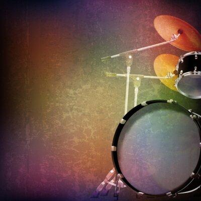 Nálepka abstraktní grunge pozadí s bicí soupravě